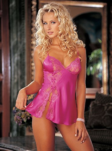 Women's Babydoll Charm Lace (Pink;Large)
