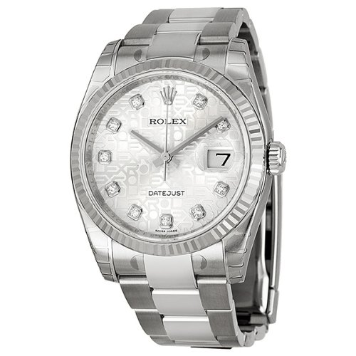 Rolex Datejust Silver Dial Automatic White Gold Bezel Steel Ladies Watch 116234SJDO