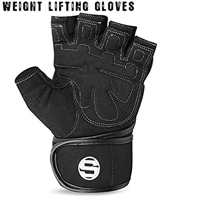 Weight Lifting Gym Fitness Body Building Gloves Training Fingerless Long Wrist by ReboGears