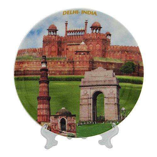 Assiettes décoratives en céramique imprimés Monuments indiennes Cadeau souvenir Accueil Décor de table