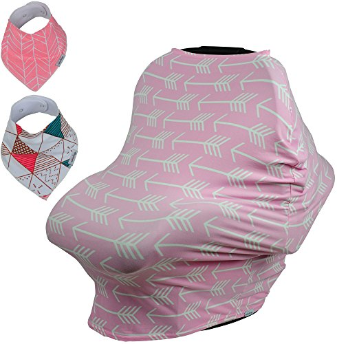 Baby Car Seat & Nursing Cover BONUS Bandana Drool Bibs & Drawstring Carry Bag Shower Gift Breathable Stretchy Universal 4 in 1 Multi-Use Infant Carseat Canopy Covers Shopping Cart High Chair Stroller (Car Seat Strap Covers For Infants compare prices)