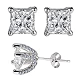 Wow Designer Inspired Sterling Silver 925 Earrings 3.00 Carat Diamond Simulated Princess Cut Stones Set in Heavy Handmade and Handset Pave Settings
