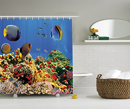 Ambesonne Ocean Decor Collection, Submerged Old Coral Colony on a Reef with Exotic Fishes at Tranquil Shallow Egyptian Red Sea Picture, Polyester Fabric Bathroom Shower Curtain, Navy Blue Yellow Green (Tranquil Pictures compare prices)