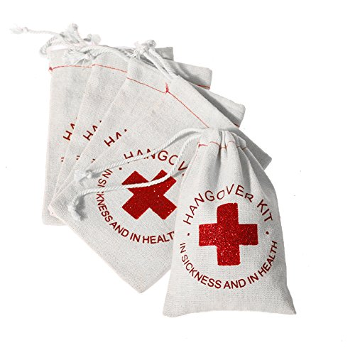 Ling's moment Hangover Kit Wedding Favor Bags, 4 x 6 Inch, 10 Pcs, First Aid Kit Bags for Wedding, Bridal Shower, New Year, Christmas, Sports etc.