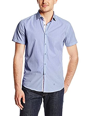 Stone Rose Men's Bengal Stripe Short Sleeve Shirt, Blue, X-Small