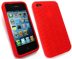 Emartbuy® HD Tyre Tread Silicon Gel/Cover/Skin Red For Apple iPhone 4S / 4G / 4S