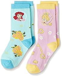 Walt Disney Girls' Socks (RDWD-1751/1752_Purple and Blue_8 - 9 years)