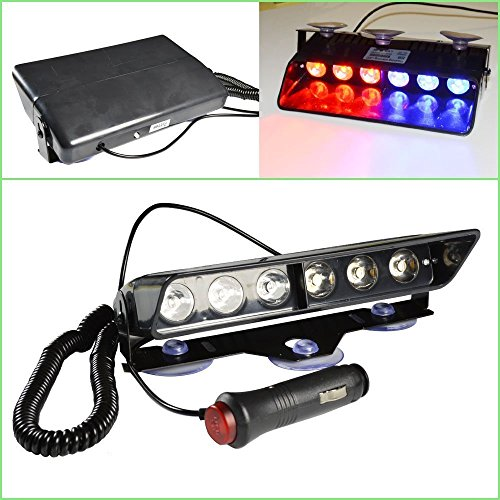 emergency dash lights 6w red blue led warning strobe lighting 16 flashing patterns for police. Black Bedroom Furniture Sets. Home Design Ideas