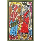 "Dolls Of India ""Santhal Couple"" Kalighat Painting - Water Color On Paper - Unframed (55.88 X 38.10 Centimeters..."