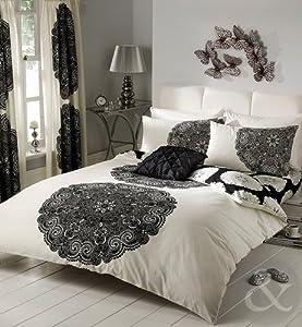 floral striped poly cotton duvet cover bed quilt cover bedding set blac. Black Bedroom Furniture Sets. Home Design Ideas