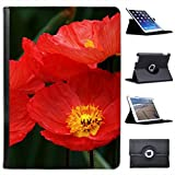 Red Iceland Poppies Blooming Bright For Apple iPad Air Faux Leather Folio Presenter Case Cover Bag with Stand Capability