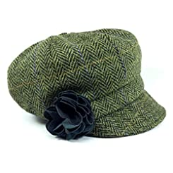 Irish Tweed Cap Women 100% Wool Green Herringbone