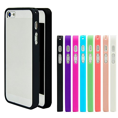iPhone 5 Case, Costyle Wholesale 8pcs/lot 8 Colors Soft Trim High Clear Back Hard Cover Bumper Case Skin for New iPhone 5 SE 5G 5S 5GS (Iphone 5 Bumper With Clear Back compare prices)