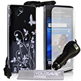 Stylish Butterfly Flower Hard Hybrid Case Cover For The Sony Ericsson Xperia Arc X12 S Black Silver With Car Charger Screen Protector Film And Grey Micro-Fibre Polishing Clothby Yousave