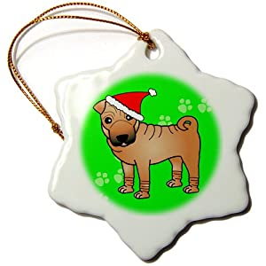 3dRose orn_47613_1 Cute Chinese Shar Pei Dog Red Coat and Black Mask with Santa Hat Green Snowflake Porcelain Ornament, 3-Inch