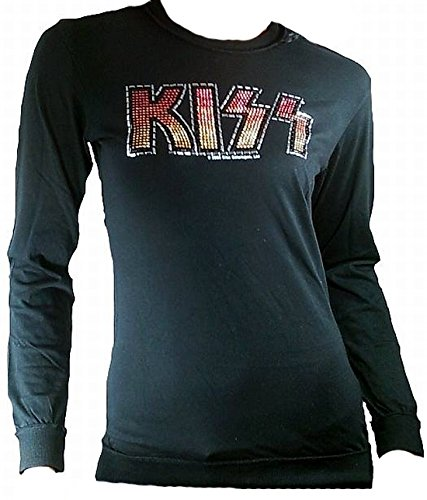 Amplified Donna Lady a maniche lunghe a T-Shirt nero nero Official Kiss Rock Band Merchandise strass cuciture VIP Rock Star Vintage esterni nero L