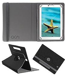 Acm Designer Rotating Leather Flip Case For Videocon V-Tab Ace Pro Tablet Cover Stand Black