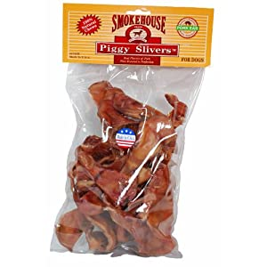 Smokehouse 100-Percent Natural Piggy Slivers Dog Treats, 24-Pack