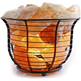 Crystal Allies Gallery: Natural Himalayan Salt Wire Mesh Basket Lamp Air Purifier with Cord, Light Bulb & Authentic Crystal Allies Info Card