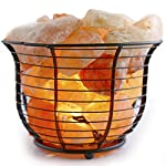 Crystal Allies Gallery: Natural Himalayan Salt Wire Mesh Basket Lamp w/ Dimmable Switch, 6ft UL-Listed Cord and 15-Watt Light Bulb