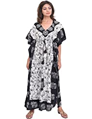 Exotic India Black And White Batik-Dyed Kaftan With Printed Elephants - Black