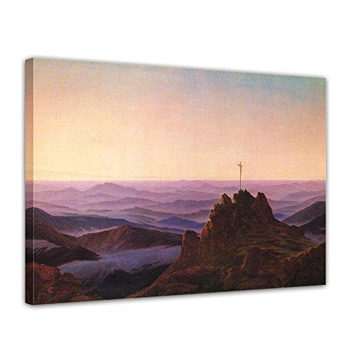 """Bilderdepot24 Leinwandbild Caspar David Friedrich - Alte Meister """"Morgen im Riesengebirge"""" 70x50cm - fertig gerahmt, direkt vom Hersteller"""