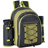 Confidence Picnic Backpack Hamper Green Inc Plates, Cutlery