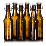Seal-Tight Fliptop Beer Bottles / Grolsch Bottles with Wire Swing Top Plastic Cap for Brewing Beer and Kombucha - 16 oz, Amber Glass Bottles [Set of 6]