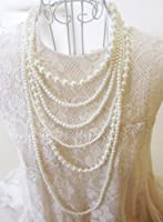 New Fashion Long 6 Row White Faux Pearls Necklace 35""