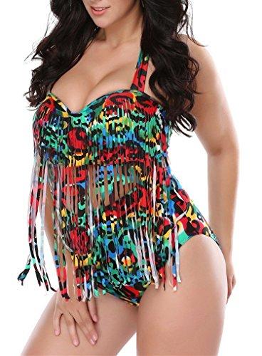 American Trends Women's Colorful Plus Size High Waist Fringe Bikini Retro Swimwear Blue Swirls US Size 10-12