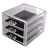 MINI BEAUTY GLAM CLEAR ACRYLIC COSMETIC DRAWER / MAKE UP STAND / ORGANISER / RACK JEWELLERY AND ARTS AND CRAFT - 3 DRAWERS