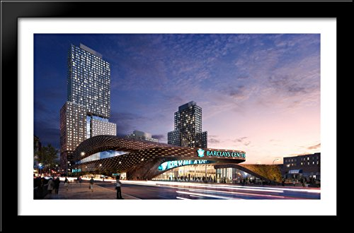 Barclays Center 40x26 Large Black Wood Framed Print Art - Home of the Brooklyn Nets (Barclays Center compare prices)