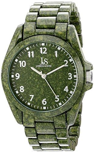 Joshua & Sons Reloj de cuarzo japonés de la pantalla analógica y verde hombre