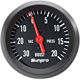 Sunpro CP8213 StyleLine Mechanical Vacuum/Boost Gauge - Black Dial