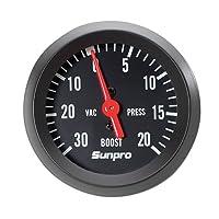 vacuum gauge, Sunpro, Sunpro CP8213 StyleLine Mechanical Vacuum/Boost Gauge - Black Dial