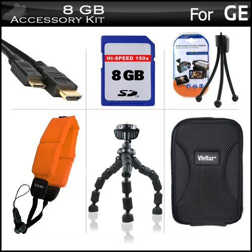 8GB Accessories Kit For GE Active DV1-GG, DV1-AB, DV1-CO, DV1-LG, DV1-LG, Waterproof/Shockproof 1080P Pocket Video Camera Includes 8GB High Speed SD Memory Card + Mini HDMI Cable + Hard Case + FLOAT STRAP + 7
