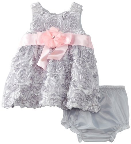 Rare Editions Baby Girls Newborn Soutach Dress, Silver, 0-3 Months