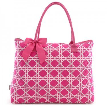 Quilted Wicker Print Large Tote Bag (Fuchsia)