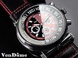VenDome 自動巻きバイカラー腕時計 ガンメタリック ブラック×レッド 本牛革ベルト スワロフスキー 黒 赤