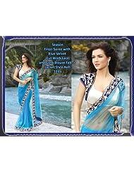 Indian Ethnic Saree Sari Bollywood Designer Embroidered Sky Blue By Triveni