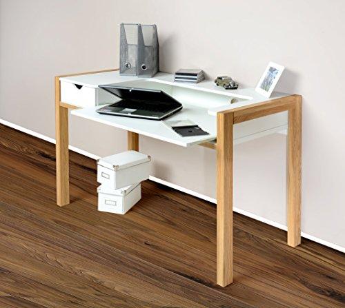 1190-Schreibtisch-PC-Tisch-Arbeitstisch-Sekretr-wei-Fe-Eiche-massiv-Holz