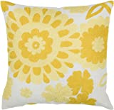 Rizzy Home T-3511 Decorative Pillows, 18 by 18-Inch, Yellow/White, Set of 2