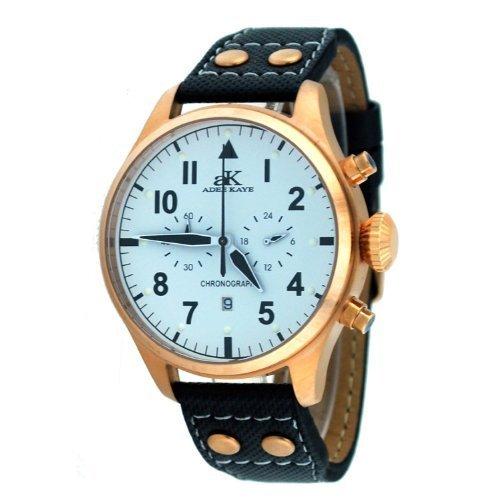 Adee Kaye #AK7234-MRG Men's Leather Band Classic Retro Chronograph Watch