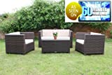 Tresco Brown Synthetic Rattan Sofa Set All Weather Garden Furniture