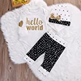 Newborn Baby Girl Boy Gold Hello World Top Romper+Pants Leggings Hat Outfits Set (0-3 Months, White&Black)
