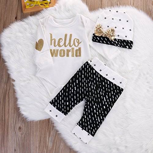 newborn baby girl boy gold hello world top romperpants