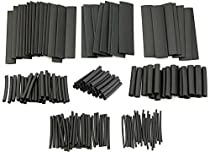 127 pcs Ratio 2:1 Heat Shrink Tube Sleeving Wrap Electrical Cable Wire Assortment Kit Black