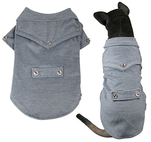 Pet Cat Dog Woolen Wool Coat Jacket Top Dog Clothes For Medium Large Dogs Grey 5Xl