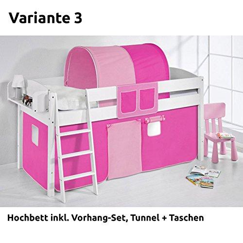 Hochbett Spielbett IDA Rosa Rosa, mit Vorhang, weiß, Variante 3