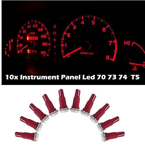 Partsam 10X Bright Red 12V Led Wedge Instrument Panel Light Bulb Lamp 37 73 74 For Ford For 2000 2001 2010 2011 Chevrolet Camaro